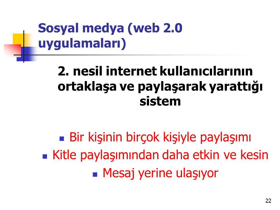 22 Sosyal medya (web 2.0 uygulamaları) 2.
