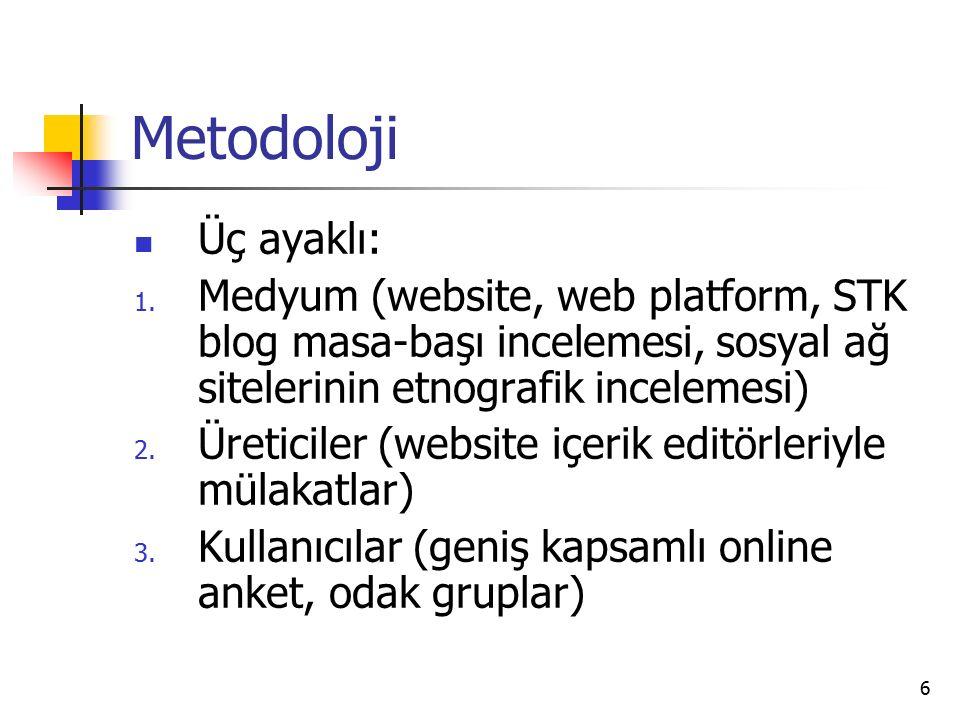 6 Metodoloji Üç ayaklı: 1.