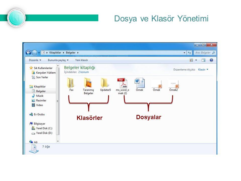 Dosya ve Klasör Yönetimi Klasörler Dosyalar