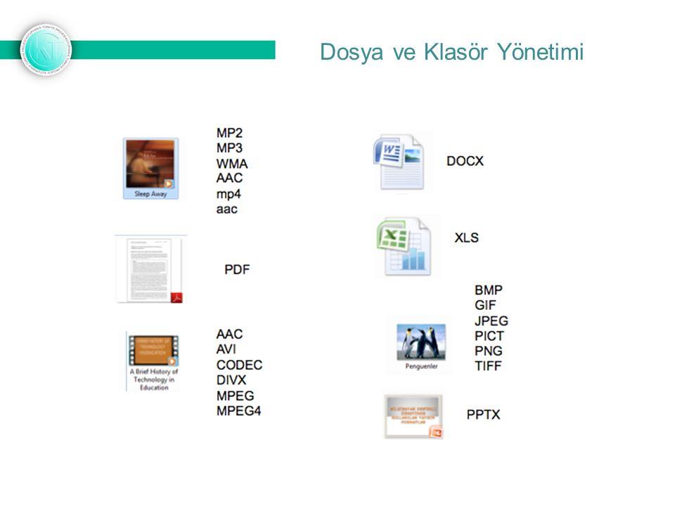 Yazı Dosyaları:.txt: En basit yazı dosyası.rtf: Zengin içerikli metin belgesi.doc: Microsoft Word ile kaydedilmiş yazılı belge.docx: Microsoft Office 2007 ve üzeri ile kaydedilmiş belgedir Resim Dosyaları:.bmp: Açık resim dosyasıdır.