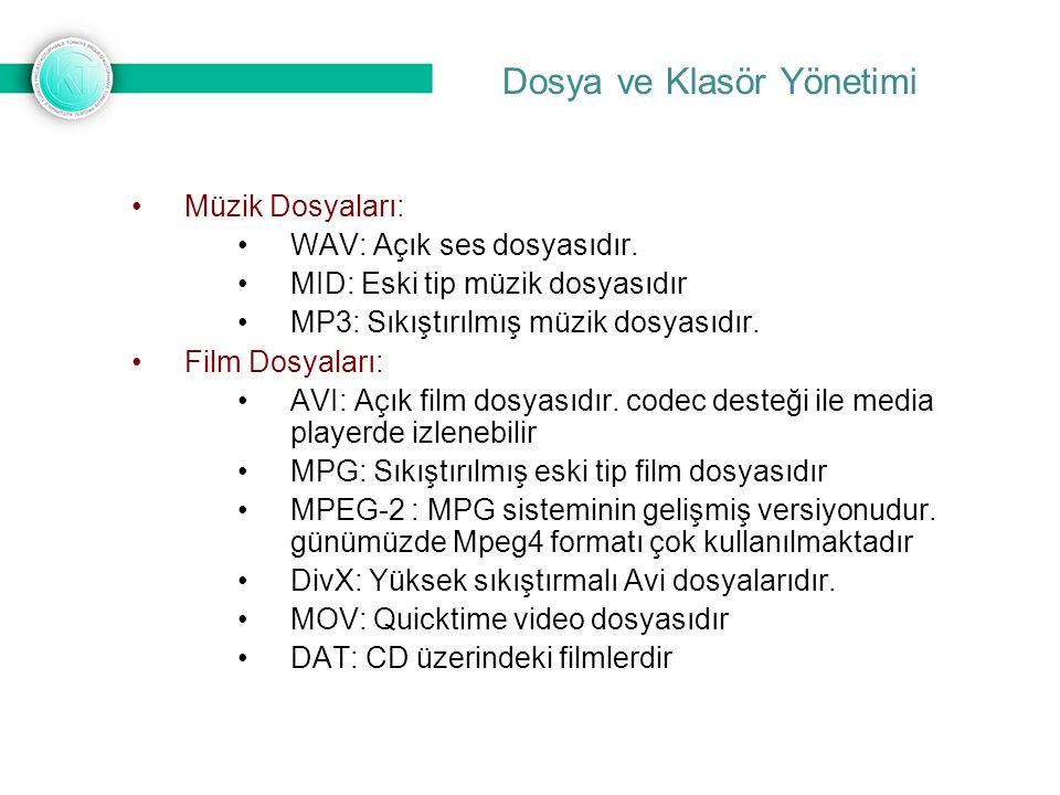 Dosya ve Klasör Yönetimi Müzik Dosyaları: WAV: Açık ses dosyasıdır.