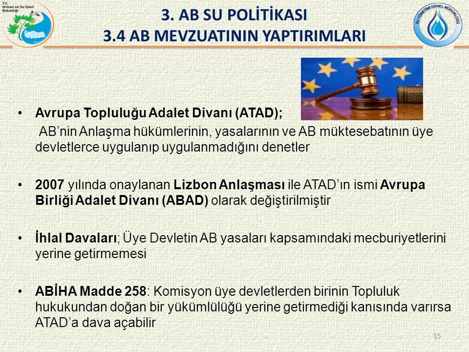 Avrupa Topluluğu Adalet Divanı (ATAD); AB'nin Anlaşma hükümlerinin, yasalarının ve AB müktesebatının üye devletlerce uygulanıp uygulanmadığını denetler 2007 yılında onaylanan Lizbon Anlaşması ile ATAD'ın ismi Avrupa Birliği Adalet Divanı (ABAD) olarak değiştirilmiştir İhlal Davaları; Üye Devletin AB yasaları kapsamındaki mecburiyetlerini yerine getirmemesi ABİHA Madde 258: Komisyon üye devletlerden birinin Topluluk hukukundan doğan bir yükümlülüğü yerine getirmediği kanısında varırsa ATAD'a dava açabilir 3.