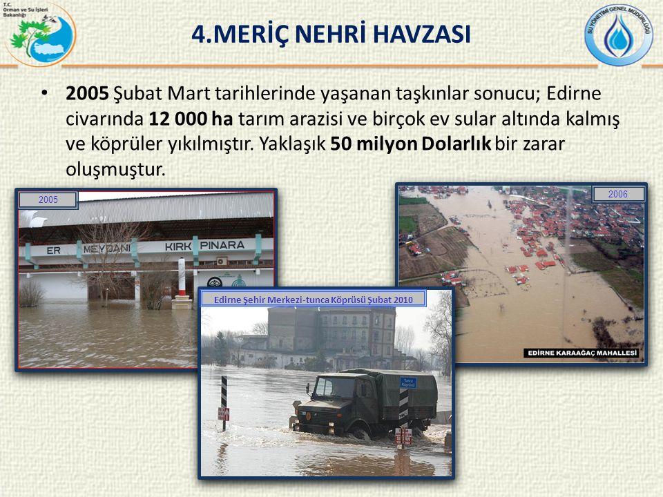 2005 Şubat Mart tarihlerinde yaşanan taşkınlar sonucu; Edirne civarında 12 000 ha tarım arazisi ve birçok ev sular altında kalmış ve köprüler yıkılmıştır.