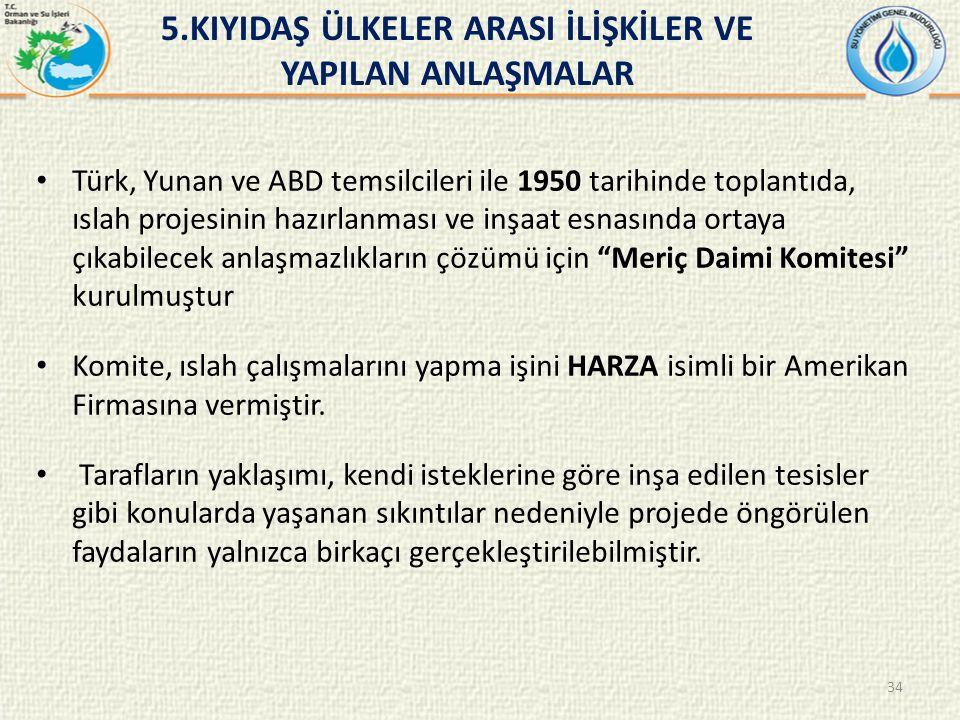 Türk, Yunan ve ABD temsilcileri ile 1950 tarihinde toplantıda, ıslah projesinin hazırlanması ve inşaat esnasında ortaya çıkabilecek anlaşmazlıkların çözümü için Meriç Daimi Komitesi kurulmuştur Komite, ıslah çalışmalarını yapma işini HARZA isimli bir Amerikan Firmasına vermiştir.