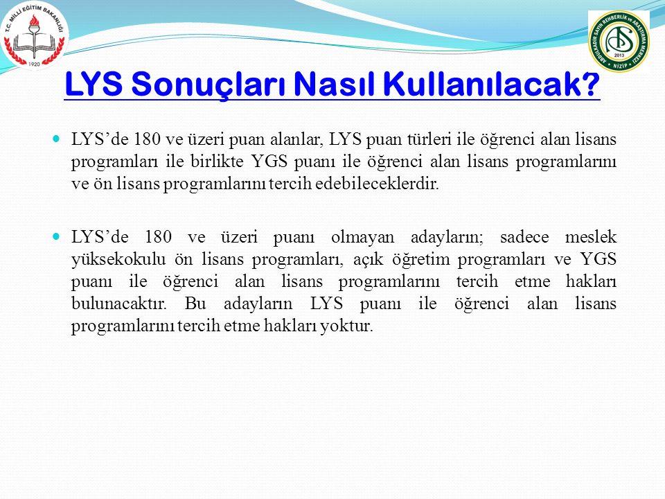 LYS Sonuçları Nasıl Kullanılacak? LYS'de 180 ve üzeri puan alanlar, LYS puan türleri ile öğrenci alan lisans programları ile birlikte YGS puanı ile öğ