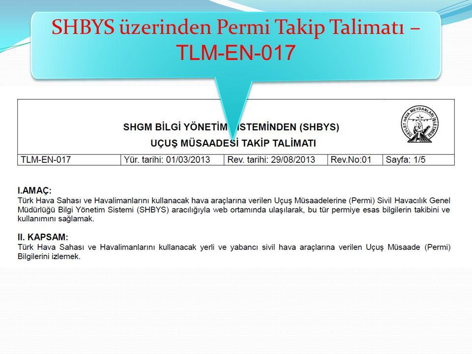 SHBYS üzerinden Permi Takip Talimatı – TLM-EN-017
