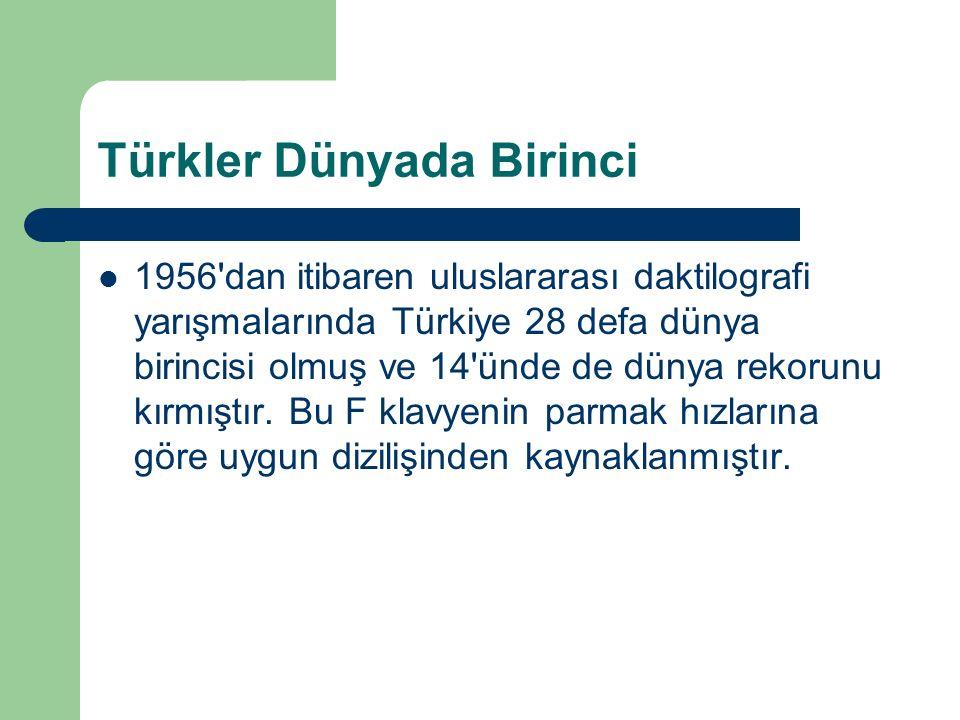 Türkler Dünyada Birinci 1956 dan itibaren uluslararası daktilografi yarışmalarında Türkiye 28 defa dünya birincisi olmuş ve 14 ünde de dünya rekorunu kırmıştır.