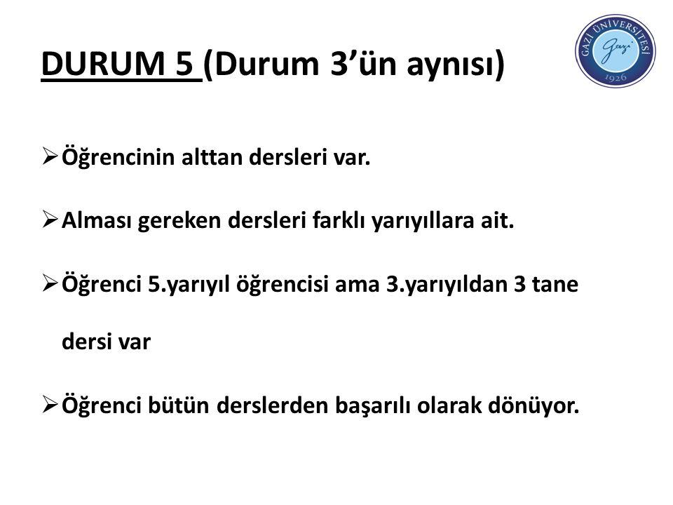 DURUM 5 (Durum 3'ün aynısı)  Öğrencinin alttan dersleri var.