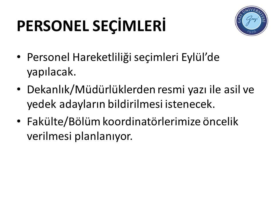 PERSONEL SEÇİMLERİ Personel Hareketliliği seçimleri Eylül'de yapılacak.