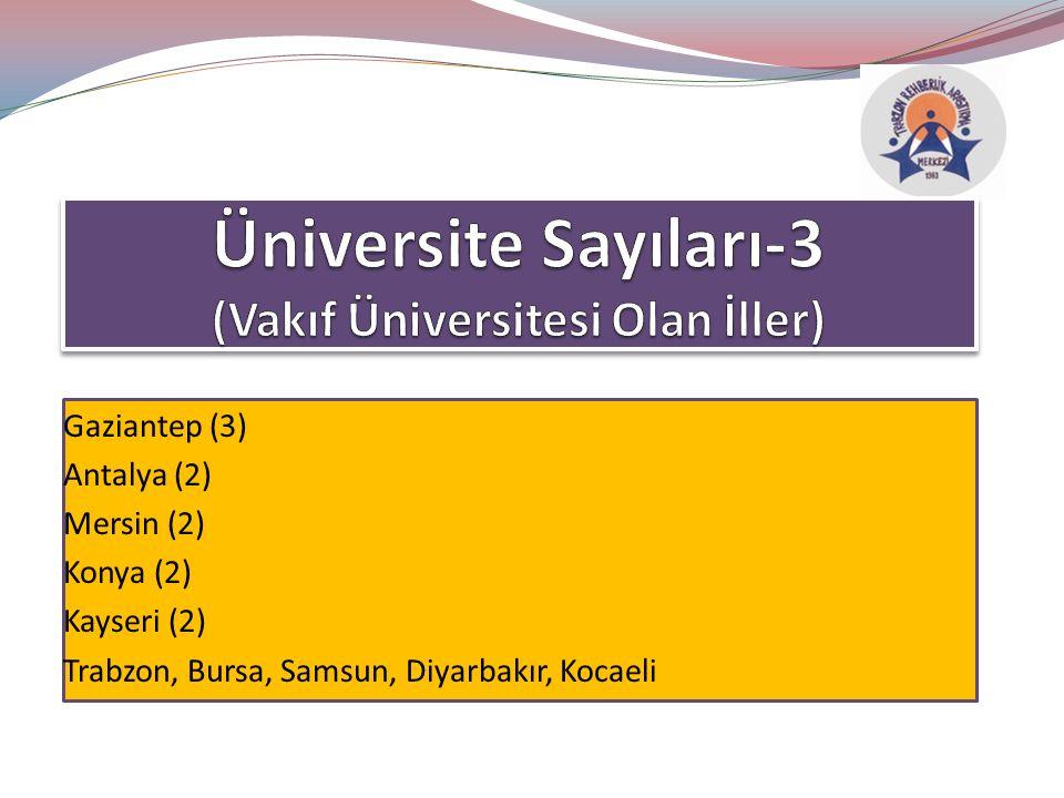 Gaziantep (3) Antalya (2) Mersin (2) Konya (2) Kayseri (2) Trabzon, Bursa, Samsun, Diyarbakır, Kocaeli