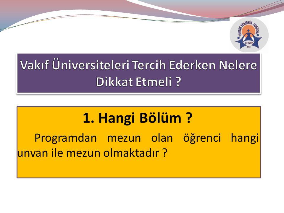 1. Hangi Bölüm Programdan mezun olan öğrenci hangi unvan ile mezun olmaktadır