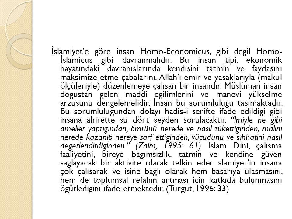 İ slamiyet'e göre insan Homo-Economicus, gibi degil Homo- İ slamicus gibi davranmalıdır. Bu insan tipi, ekonomik hayatındaki davranıslarında kendisini