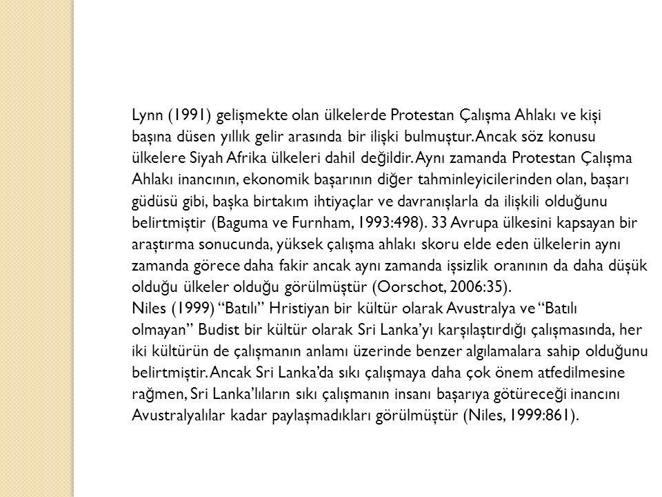 Lynn (1991) gelişmekte olan ülkelerde Protestan Çalışma Ahlakı ve kişi başına düsen yıllık gelir arasında bir ilişki bulmuştur. Ancak söz konusu ülkel