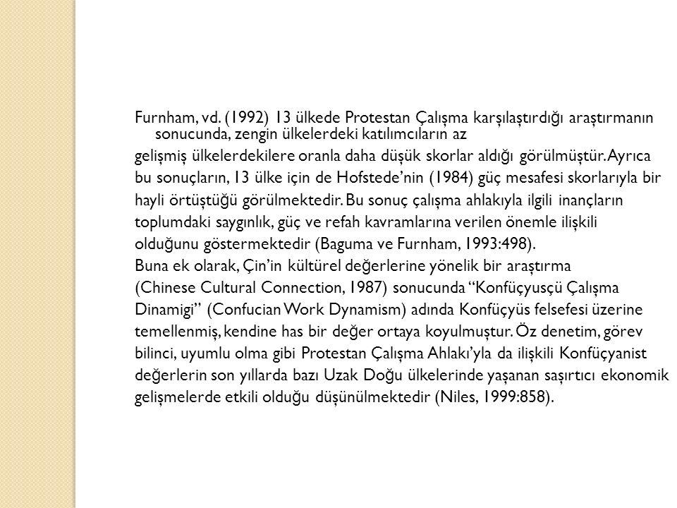Furnham, vd. (1992) 13 ülkede Protestan Çalışma karşılaştırdı ğ ı araştırmanın sonucunda, zengin ülkelerdeki katılımcıların az gelişmiş ülkelerdekiler