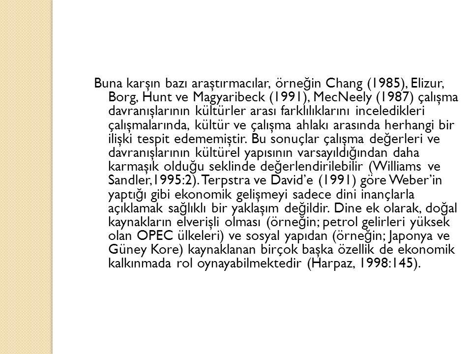 Buna karşın bazı araştırmacılar, örne ğ in Chang (1985), Elizur, Borg, Hunt ve Magyaribeck (1991), MecNeely (1987) çalışma davranışlarının kültürler a