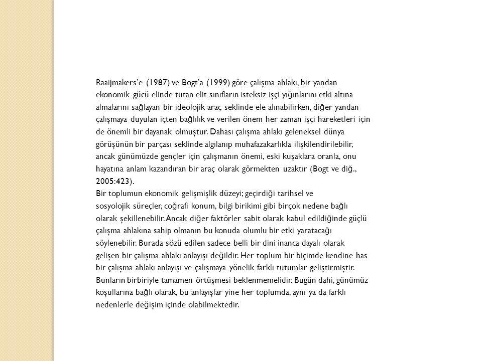 Raaijmakers'e (1987) ve Bogt'a (1999) göre çalışma ahlakı, bir yandan ekonomik gücü elinde tutan elit sınıfların isteksiz işçi yı ğ ınlarını etki altı