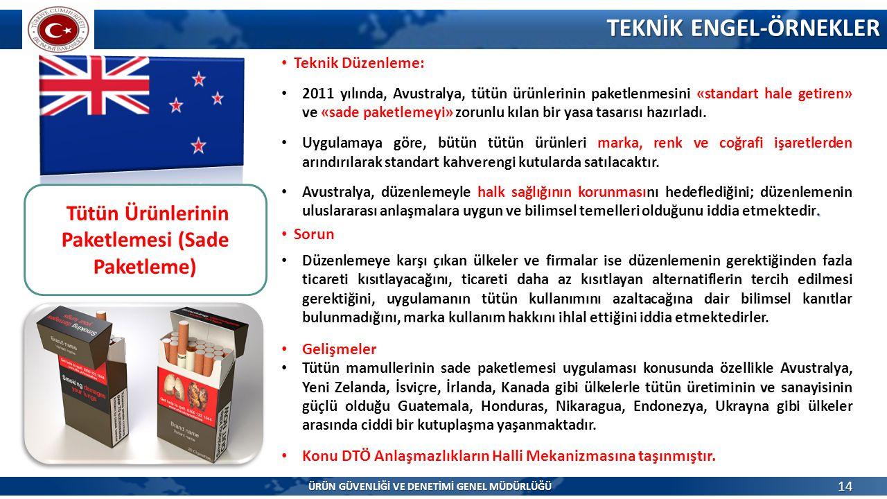 TEKNİK ENGEL-ÖRNEKLER 14 ÜRÜN GÜVENLİĞİ VE DENETİMİ GENEL MÜDÜRLÜĞÜ 2011 yılında, Avustralya, tütün ürünlerinin paketlenmesini «standart hale getiren» ve «sade paketlemeyi» zorunlu kılan bir yasa tasarısı hazırladı.