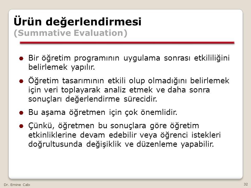 Dr. Emine Cabı 32 Ürün değerlendirmesi (Summative Evaluation)  Bir öğretim programının uygulama sonrası etkililiğini belirlemek yapılır.  Öğretim ta