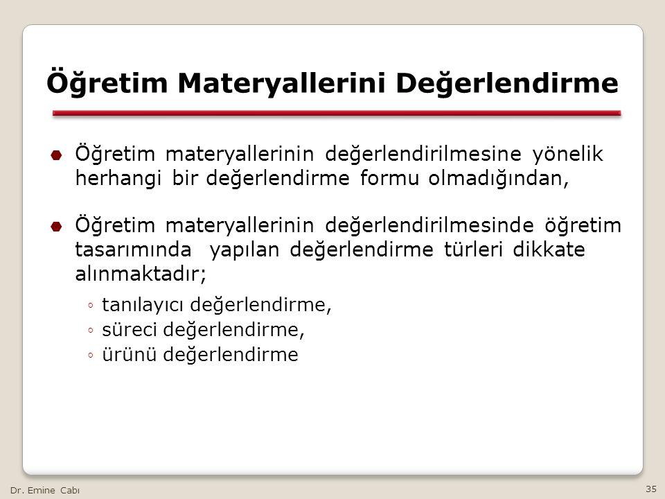 Dr. Emine Cabı 35 Öğretim Materyallerini Değerlendirme  Öğretim materyallerinin değerlendirilmesine yönelik herhangi bir değerlendirme formu olmadığı