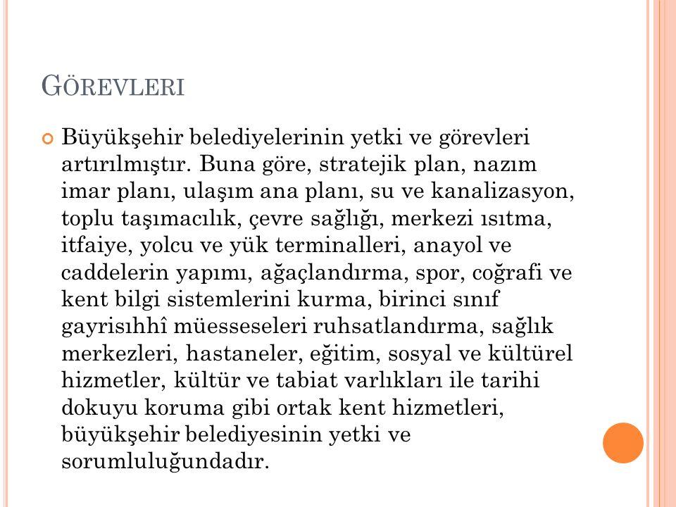 G ÖREVLERI Büyükşehir belediyelerinin yetki ve görevleri artırılmıştır.
