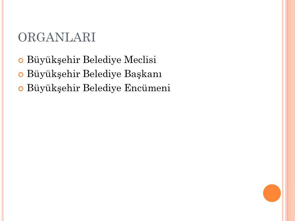 ORGANLARI Büyükşehir Belediye Meclisi Büyükşehir Belediye Başkanı Büyükşehir Belediye Encümeni