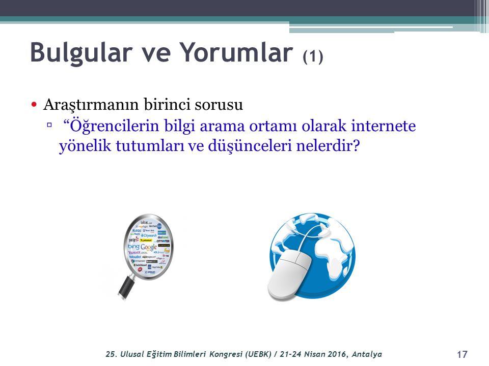 Bulgular ve Yorumlar (1) Araştırmanın birinci sorusu ▫ Öğrencilerin bilgi arama ortamı olarak internete yönelik tutumları ve düşünceleri nelerdir.