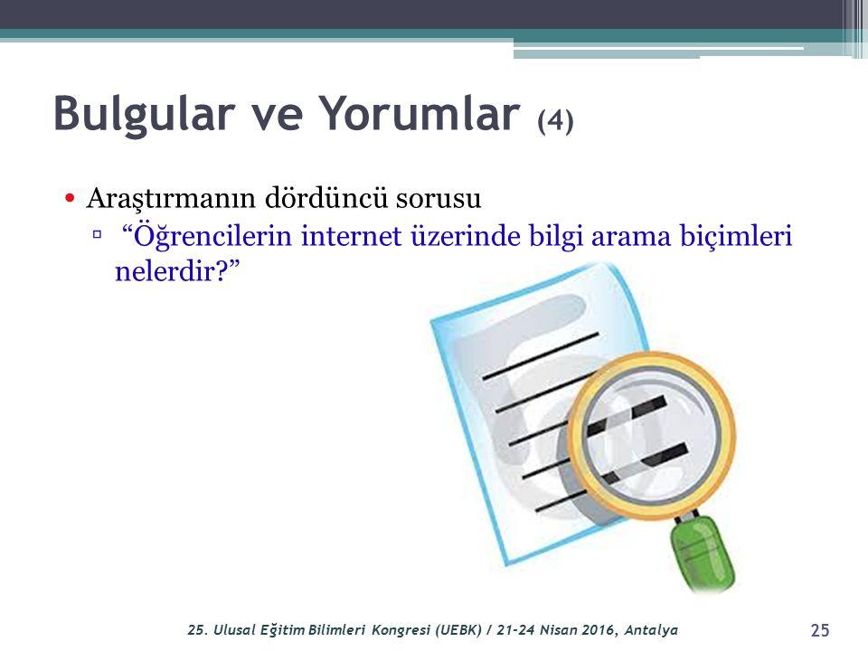 Bulgular ve Yorumlar (4) Araştırmanın dördüncü sorusu ▫ Öğrencilerin internet üzerinde bilgi arama biçimleri nelerdir? 25 25.