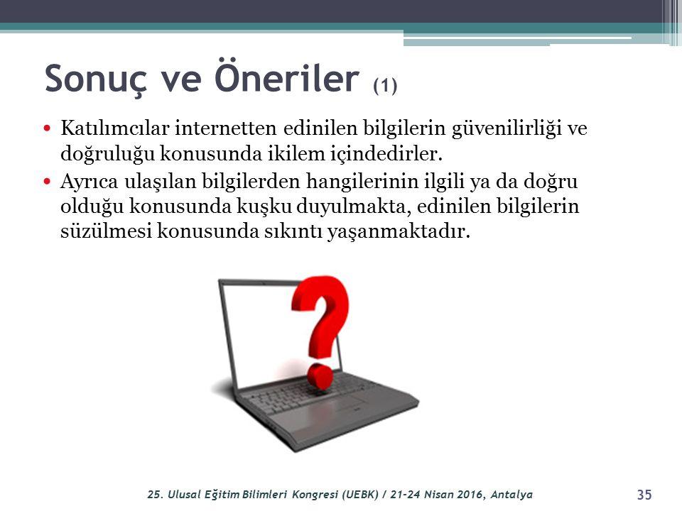 Katılımcılar internetten edinilen bilgilerin güvenilirliği ve doğruluğu konusunda ikilem içindedirler.