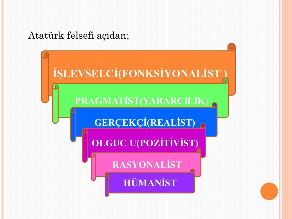 Atatürk felsefi açıdan; İŞLEVSELCİ(FONKSİYONALİST ) PRAGMATİST(YARARCILIK) GERÇEKÇİ(REALİST) OLGUC U(POZİTİVİST) RASYONALİST HÜMANİST