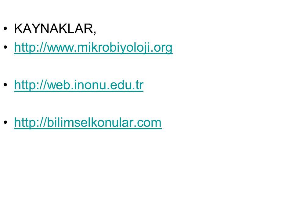 KAYNAKLAR, http://www.mikrobiyoloji.org http://web.inonu.edu.tr http://bilimselkonular.com