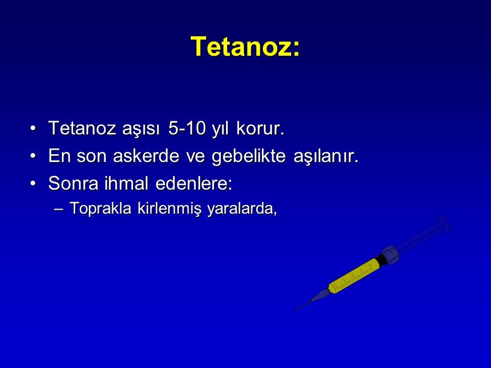 Tetanoz: Tetanoz aşısı 5-10 yıl korur.Tetanoz aşısı 5-10 yıl korur. En son askerde ve gebelikte aşılanır.En son askerde ve gebelikte aşılanır. Sonra i
