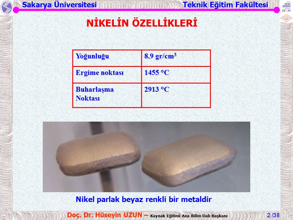 Sakarya Üniversitesi Teknik Eğitim Fakültesi /38 Doç.