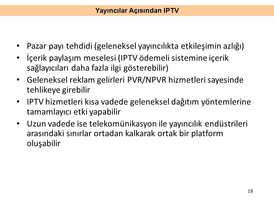 Pazar payı tehdidi (geleneksel yayıncılıkta etkileşimin azlığı) İçerik paylaşım meselesi (IPTV ödemeli sistemine içerik sağlayıcıları daha fazla ilgi gösterebilir) Geleneksel reklam gelirleri PVR/NPVR hizmetleri sayesinde tehlikeye girebilir IPTV hizmetleri kısa vadede geleneksel dağıtım yöntemlerine tamamlayıcı etki yapabilir Uzun vadede ise telekomünikasyon ile yayıncılık endüstrileri arasındaki sınırlar ortadan kalkarak ortak bir platform oluşabilir Yayıncılar Açısından IPTV 18
