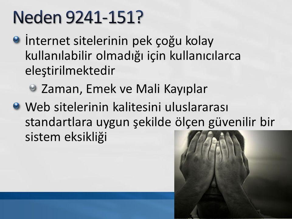 İnternet sitelerinin pek çoğu kolay kullanılabilir olmadığı için kullanıcılarca eleştirilmektedir Zaman, Emek ve Mali Kayıplar Web sitelerinin kalitesini uluslararası standartlara uygun şekilde ölçen güvenilir bir sistem eksikliği