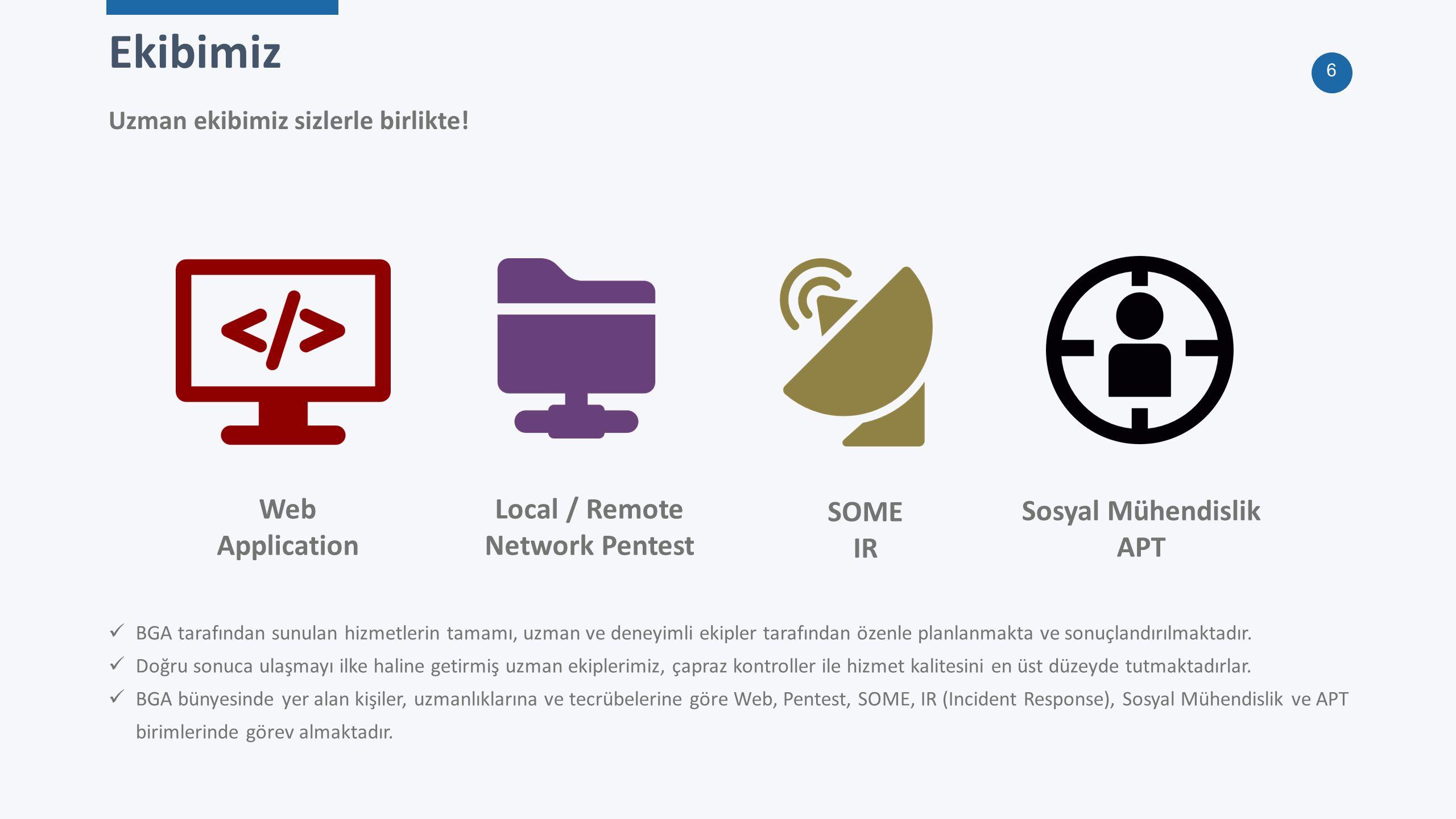 7 BGA Bilgi Güvenliği A.Ş @BGASecurity 85 Yıllık Tecrübe BGA ekibi olarak verdiğimiz hizmetler Uluslararası geçerliliğe sahip sertifikalı 43 çalışandan oluşan uzman ekibi ile, faaliyetlerini Ankara, İstanbul, Azerbaycan ve USA'da sürdüren BGA Bilgi Güvenliği'nin ilgi alanlarını Sızma Testleri, Güvenlik Denetimi, SOME, SOC Danışmanlığı, Açık Kaynak Siber Güvenlik Çözümleri, Büyük Veri Güvenlik Analizi ve Yeni Nesil Güvenlik Çözümleri oluşturmaktadır.