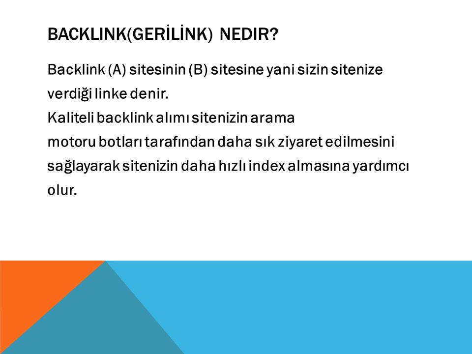 BACKLINK(GERİLİNK) NEDIR.