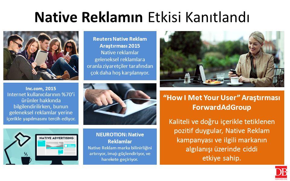 Native Reklamın Etkisi Kanıtlandı Reuters Native Reklam Araştırması 2015 Native reklamlar geleneksel reklamlara oranla ziyaretçiler tarafından çok daha hoş karşılanıyor.