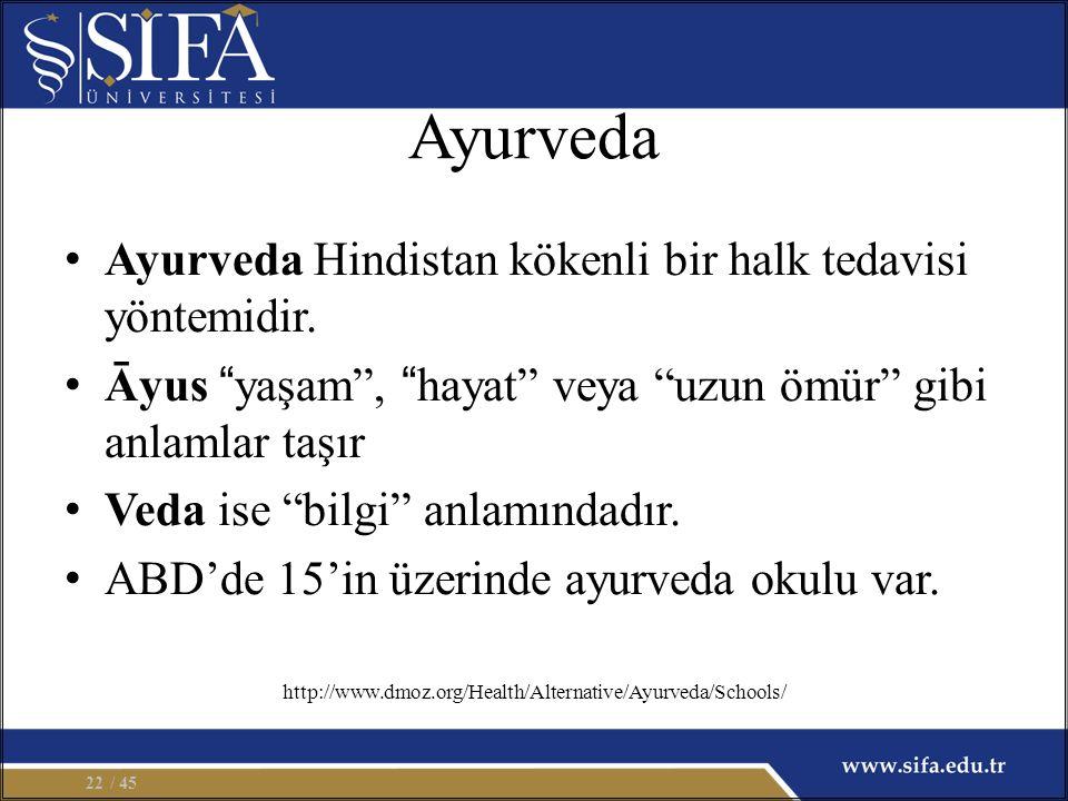 """Ayurveda Ayurveda Hindistan kökenli bir halk tedavisi yöntemidir. Āyus """"yaşam"""", """"hayat"""" veya """"uzun ömür"""" gibi anlamlar taşır Veda ise """"bilgi"""" anlamınd"""