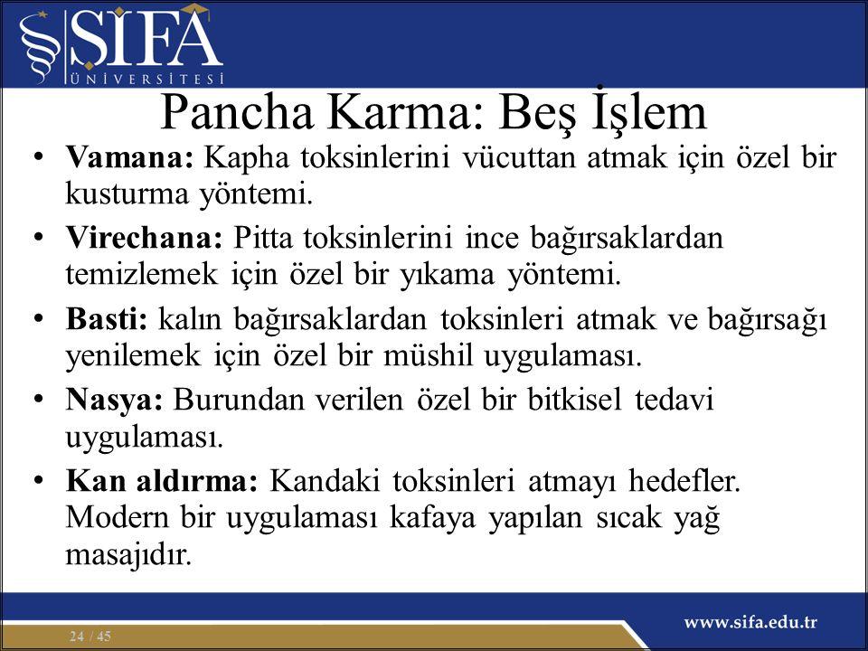Pancha Karma: Beş İşlem Vamana: Kapha toksinlerini vücuttan atmak için özel bir kusturma yöntemi. Virechana: Pitta toksinlerini ince bağırsaklardan te