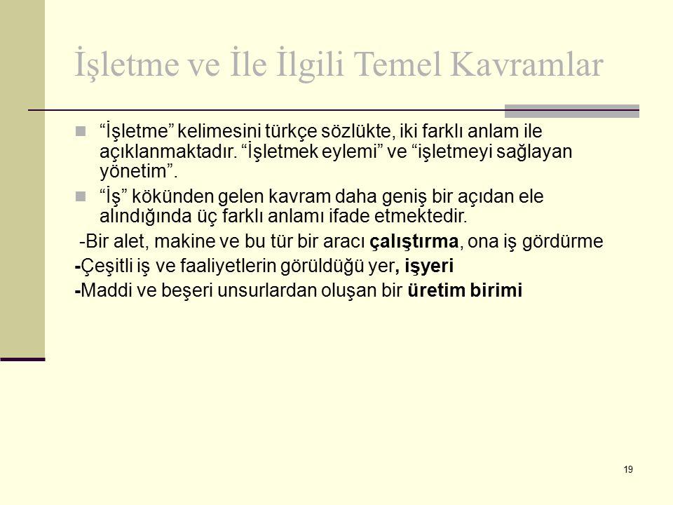 """19 İşletme ve İle İlgili Temel Kavramlar """"İşletme"""" kelimesini türkçe sözlükte, iki farklı anlam ile açıklanmaktadır. """"İşletmek eylemi"""" ve """"işletmeyi s"""