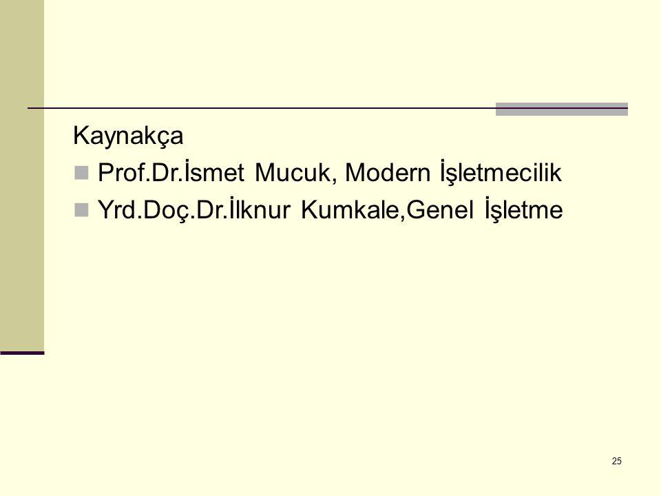 25 Kaynakça Prof.Dr.İsmet Mucuk, Modern İşletmecilik Yrd.Doç.Dr.İlknur Kumkale,Genel İşletme