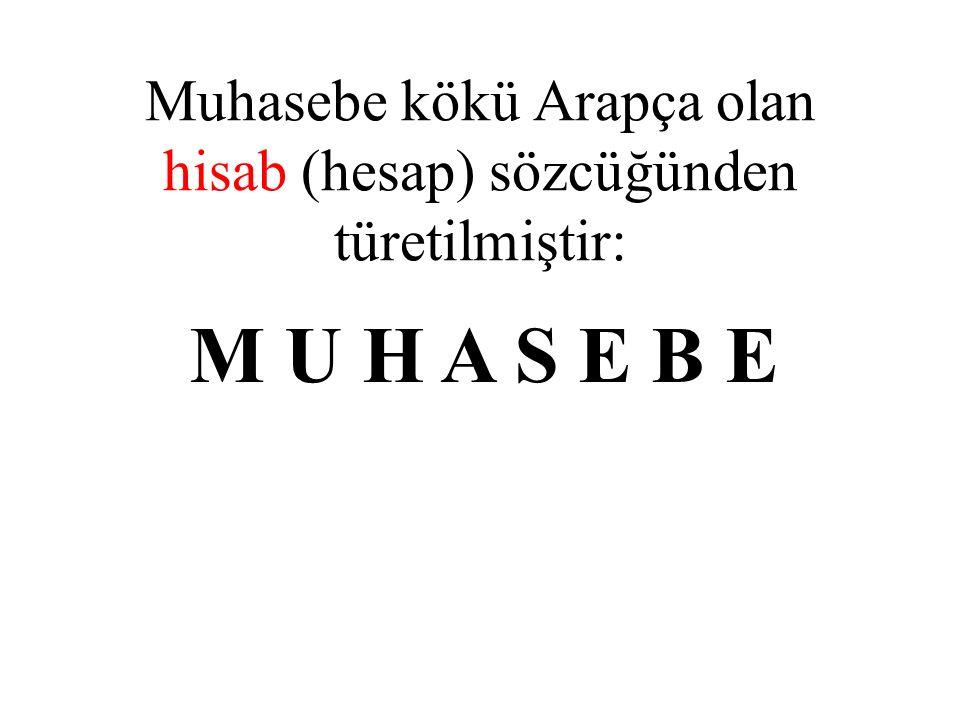 Muhasebe kökü Arapça olan hisab (hesap) sözcüğünden türetilmiştir: M U H A S E B E