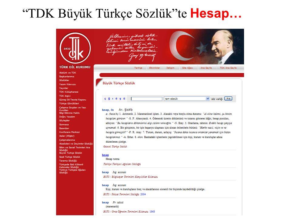 """""""TDK Büyük Türkçe Sözlük""""te Hesap…"""