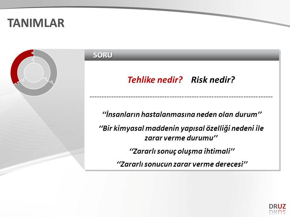 SORUSORU Tehlike nedir? Risk nedir? --------------------------------------------------------------------------- Tehlike nedir? Risk nedir? -----------