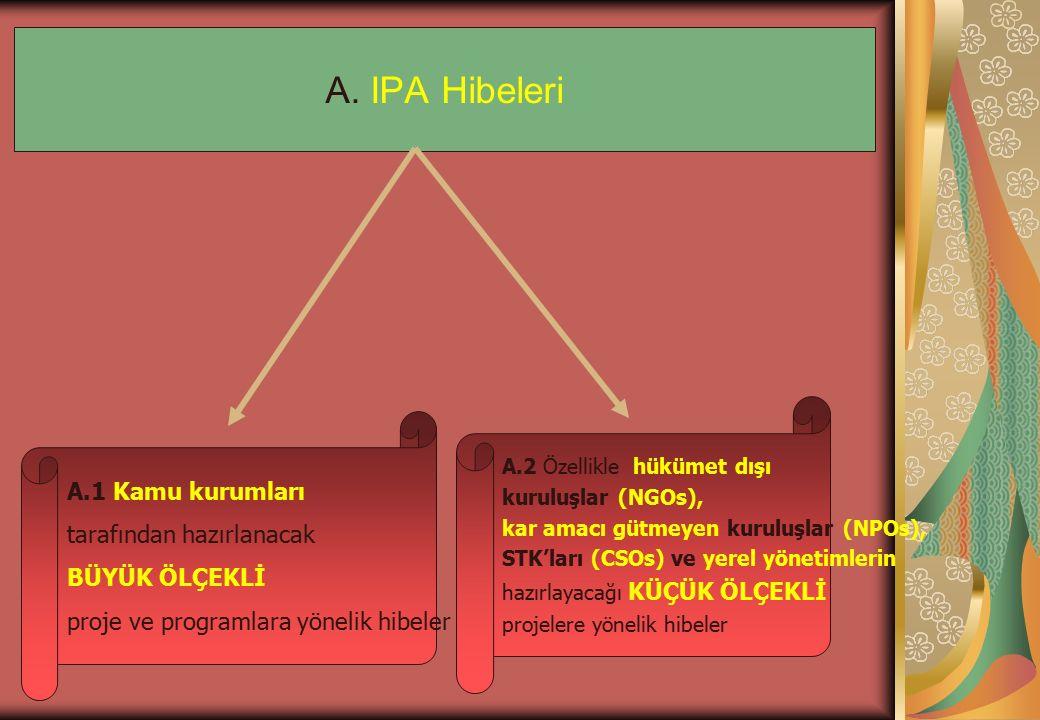 A. IPA Hibeleri A.1 Kamu kurumları tarafından hazırlanacak BÜYÜK ÖLÇEKLİ proje ve programlara yönelik hibeler A.2 Özellikle hükümet dışı kuruluşlar (N