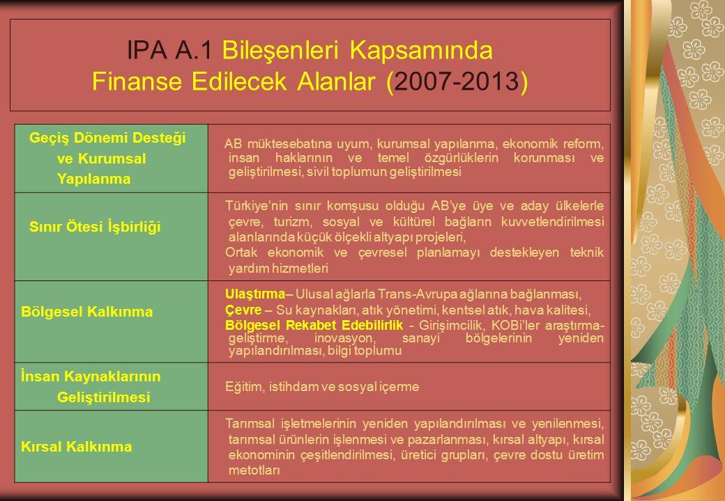 IPA A.1 Bileşenleri Kapsamında Finanse Edilecek Alanlar (2007-2013) Geçiş Dönemi Desteği ve Kurumsal Yapılanma AB müktesebatına uyum, kurumsal yapılanma, ekonomik reform, insan haklarının ve temel özgürlüklerin korunması ve geliştirilmesi, sivil toplumun geliştirilmesi Sınır Ötesi İşbirliği Türkiye'nin sınır komşusu olduğu AB'ye üye ve aday ülkelerle çevre, turizm, sosyal ve kültürel bağların kuvvetlendirilmesi alanlarında küçük ölçekli altyapı projeleri, Ortak ekonomik ve çevresel planlamayı destekleyen teknik yardım hizmetleri Bölgesel Kalkınma Ulaştırma– Ulusal ağlarla Trans-Avrupa ağlarına bağlanması, Çevre – Su kaynakları, atık yönetimi, kentsel atık, hava kalitesi, Bölgesel Rekabet Edebilirlik - Girişimcilik, KOBi'ler araştırma- geliştirme, inovasyon, sanayi bölgelerinin yeniden yapılandırılması, bilgi toplumu İnsan Kaynaklarının Geliştirilmesi Eğitim, istihdam ve sosyal içerme Kırsal Kalkınma Tarımsal işletmelerinin yeniden yapılandırılması ve yenilenmesi, tarımsal ürünlerin işlenmesi ve pazarlanması, kırsal altyapı, kırsal ekonominin çeşitlendirilmesi, üretici grupları, çevre dostu üretim metotları