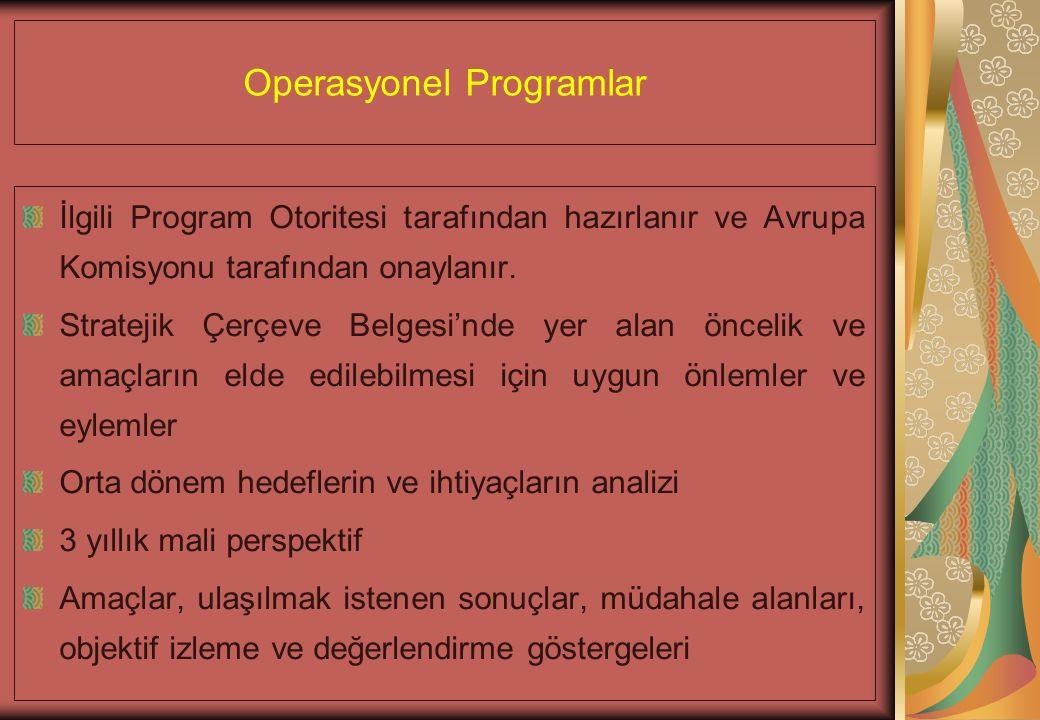 Operasyonel Programlar İlgili Program Otoritesi tarafından hazırlanır ve Avrupa Komisyonu tarafından onaylanır.