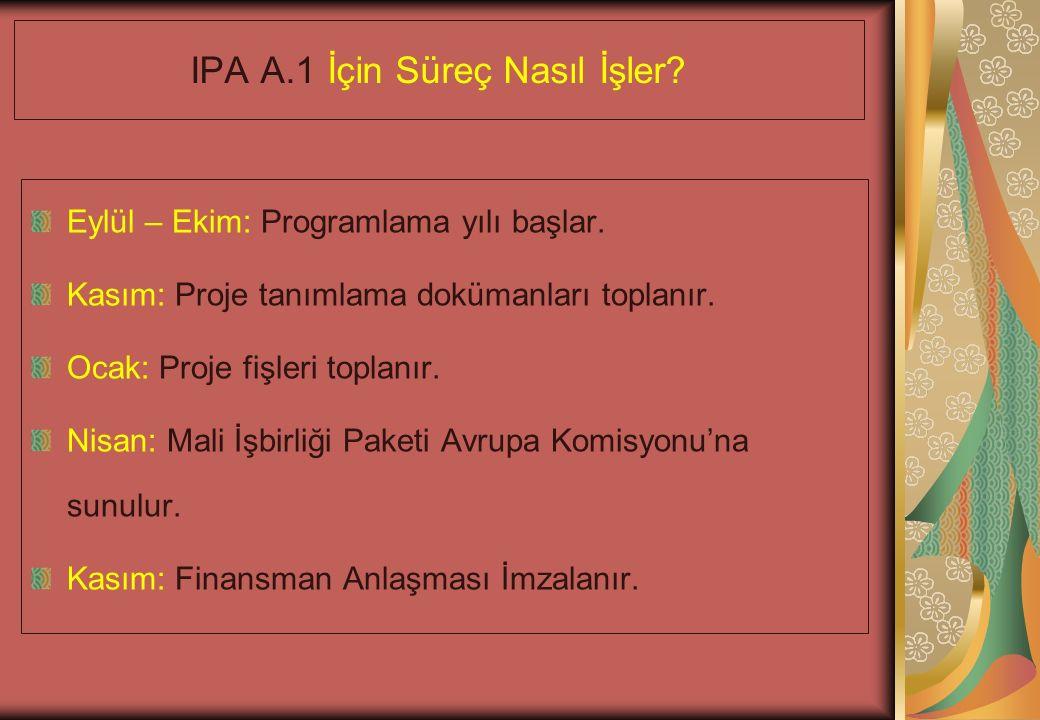 IPA A.1 İçin Süreç Nasıl İşler. Eylül – Ekim: Programlama yılı başlar.