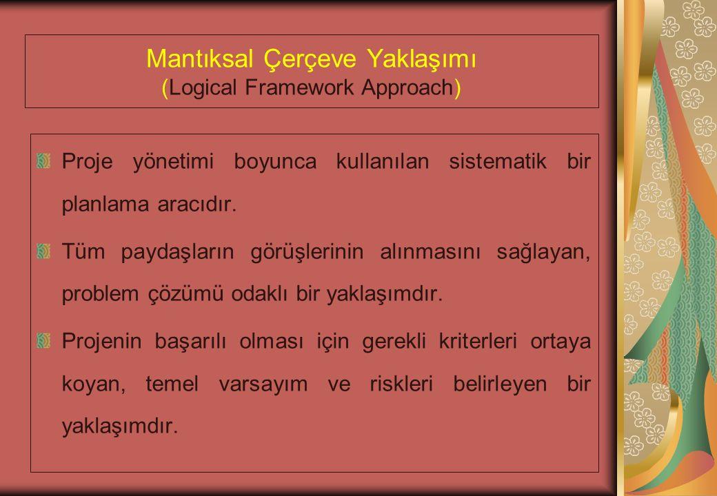 Mantıksal Çerçeve Yaklaşımı (Logical Framework Approach) Proje yönetimi boyunca kullanılan sistematik bir planlama aracıdır.