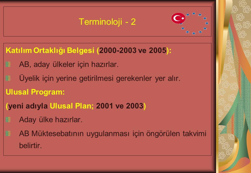Terminoloji - 2 Katılım Ortaklığı Belgesi (2000-2003 ve 2005): AB, aday ülkeler için hazırlar.